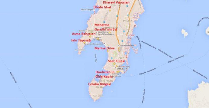 Mumbai'de Gezilecek Yerlerin Haritadaki Konumu