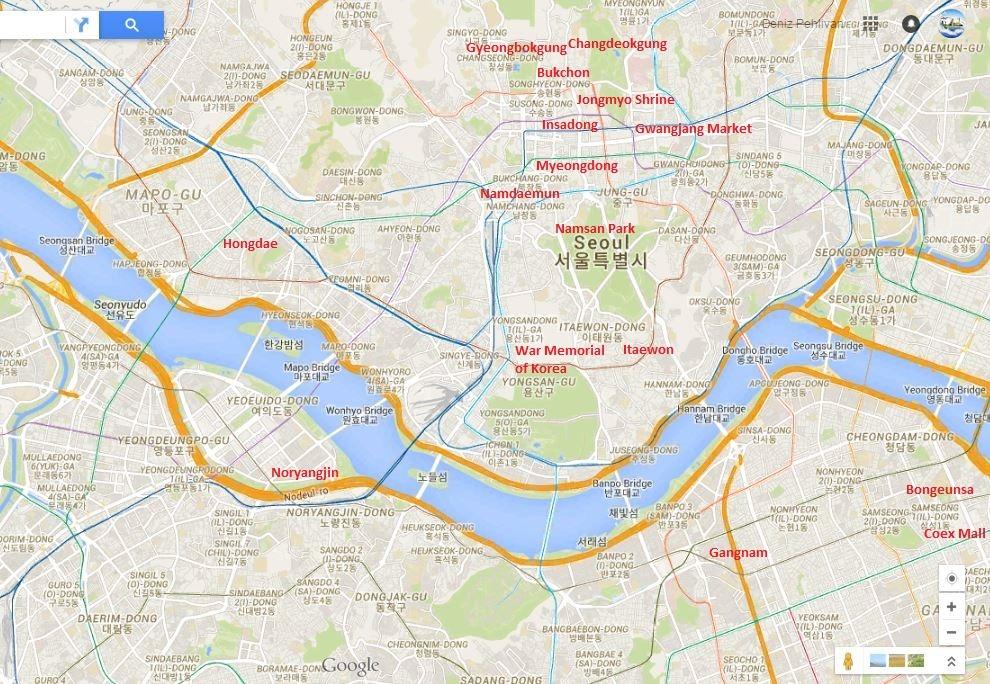 Aşağıda Anlatacağım Yerlerin Seul'deki Konumları