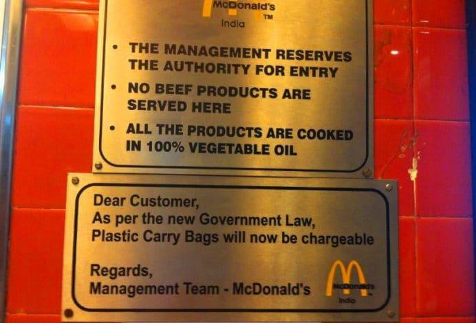 Mc Donalds-Et ve et ürünleri satılmaz tabelası