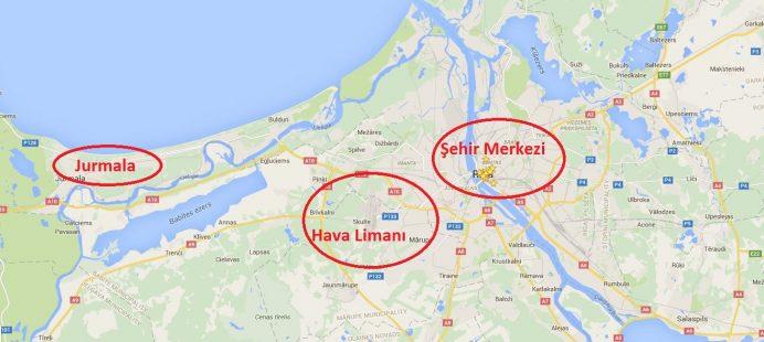 Riga'da Gezilecek Bölgelerin Konumları